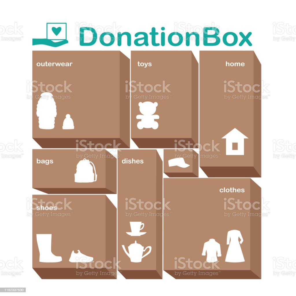 A Set Of Donation Box Buttons With Names And Images Stock Illustration Download Image Now Istock