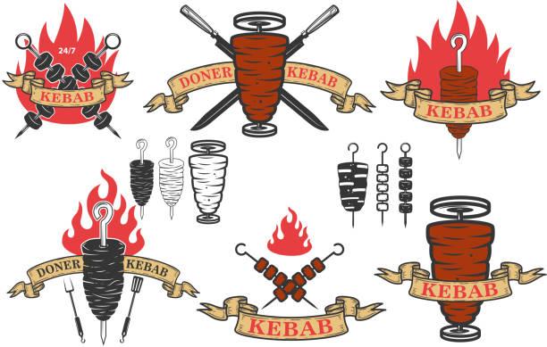 satz von döner kebab embleme. design-elemente für label, wahrzeichen, zeichen. vektor-illustration - döner stock-grafiken, -clipart, -cartoons und -symbole