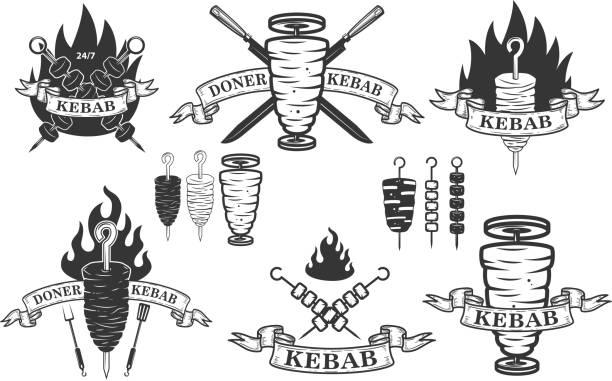satz von döner kebab embleme. design-elemente für label, wahrzeichen, zeichen. - döner stock-grafiken, -clipart, -cartoons und -symbole