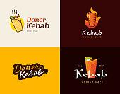 Set of doner kebab label templates. Vector creative badges for Turkish and Arabian fast food restaurant.