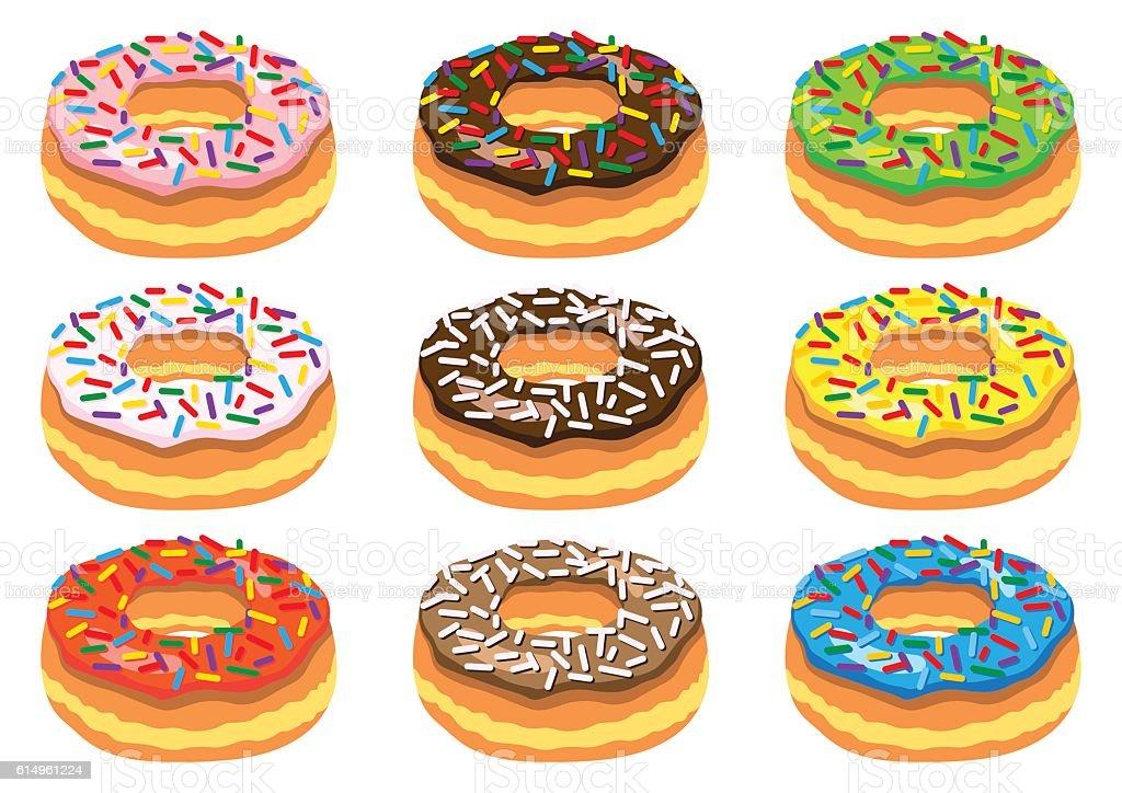 Set of donuts vector art illustration
