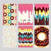 Set of bright donut cards. Set of donuts with pink, chocolate, white, yellow, blue mint glaze. Donut seamless pattern, background, card, poster.  Donut's glaze pattern, background. Template for design