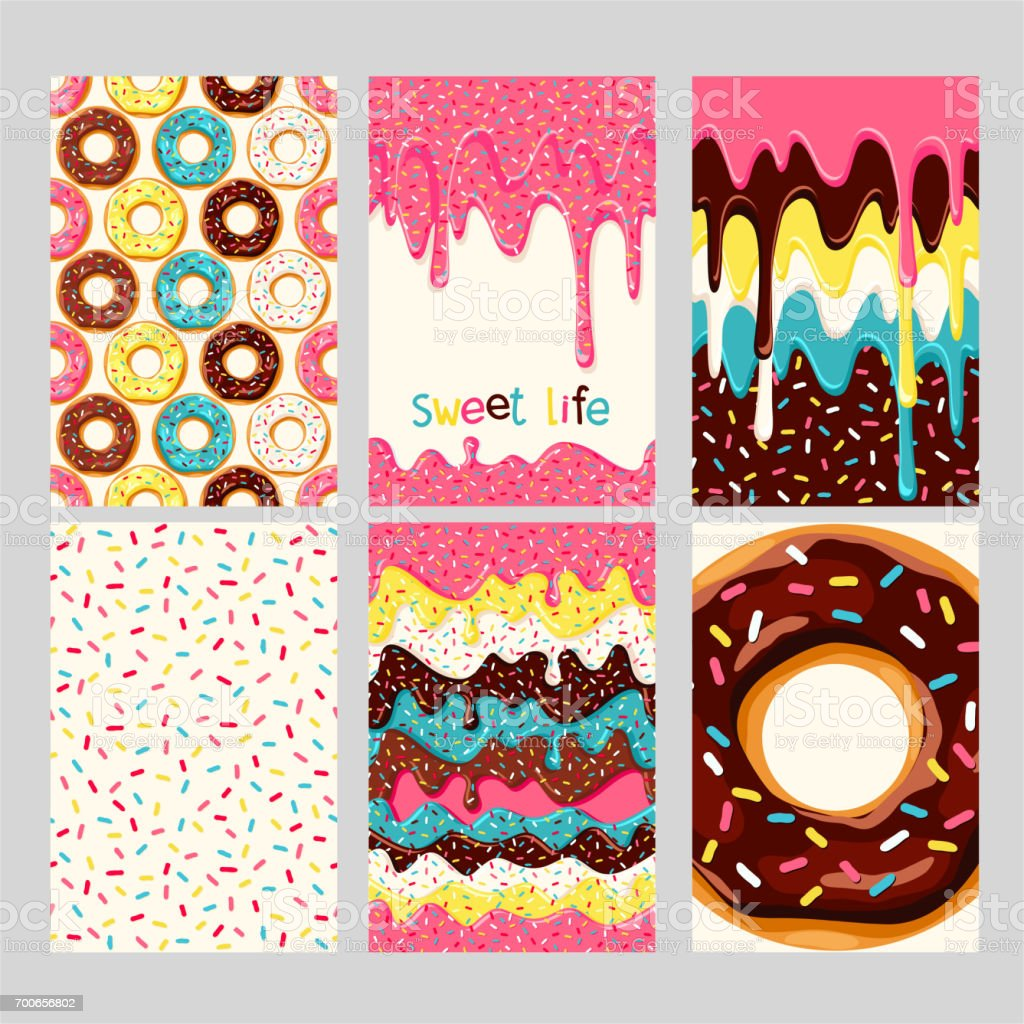 Set of donuts vector art illustration