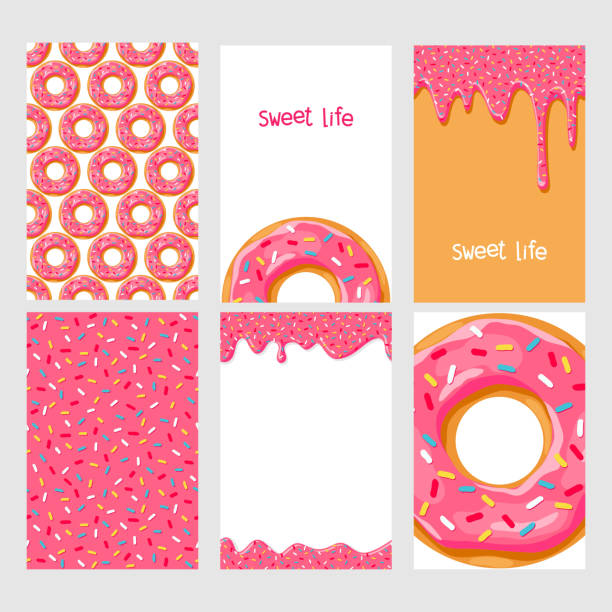 Set of donuts with pink glaze Set of bright food cards. Set of donuts with pink glaze. Donut seamless pattern.Donut background. Donut card.Donut poster. Donut's glaze pattern. Donut's glaze background Template for design cake patterns stock illustrations