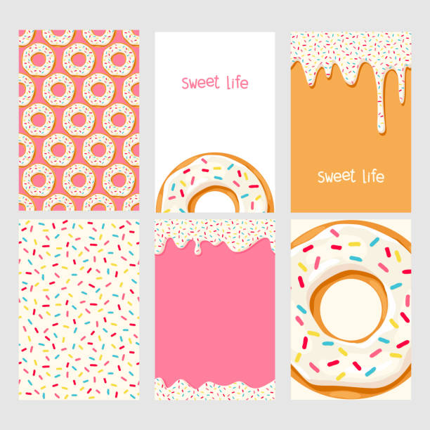 Set of donuts with pink glaze Set of bright food cards. Set of donuts with pink glaze. Donut seamless pattern.Donut background. Donut card.Donut poster. Donut's glaze pattern. Donut's glaze background Template for design cake drawings stock illustrations