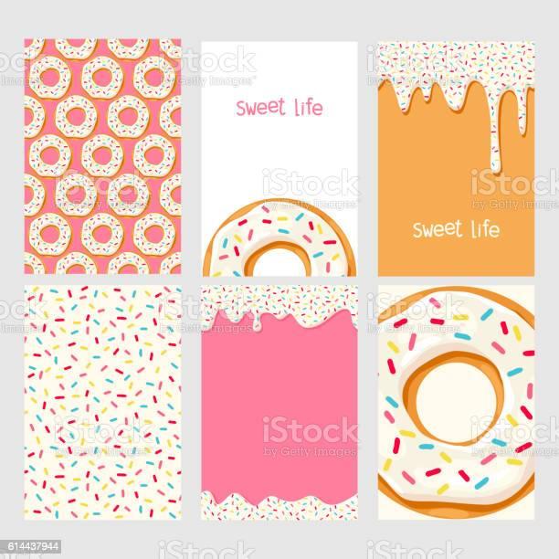 Set Of Donuts With Pink Glaze - Arte vetorial de stock e mais imagens de Amor