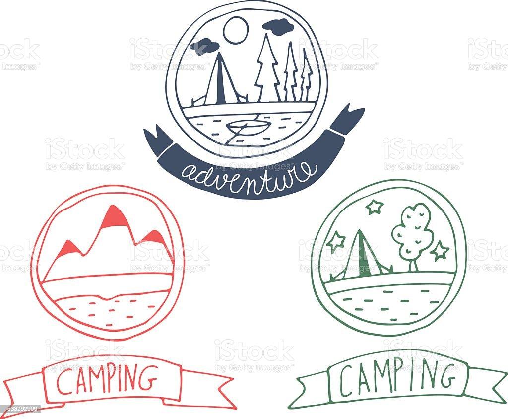 Conjunto de aventura tarjetas Garabato - ilustración de arte vectorial