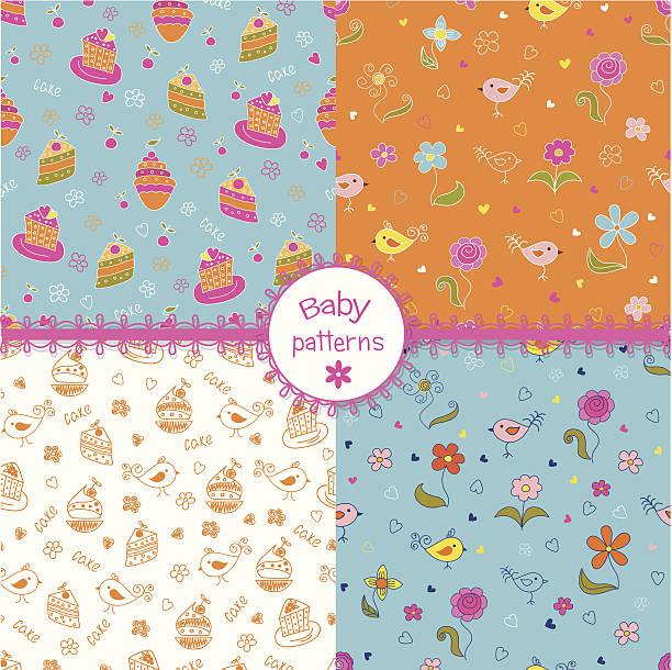 satz von doodle baby muster - schulbedarfskuchen stock-grafiken, -clipart, -cartoons und -symbole