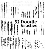 Set of Doodle brushes in the form of spikelets and grass and twigs