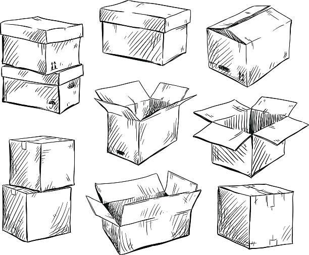 bildbanksillustrationer, clip art samt tecknat material och ikoner med set of doodle cardboard boxes. vector illustration. - flyttlådor