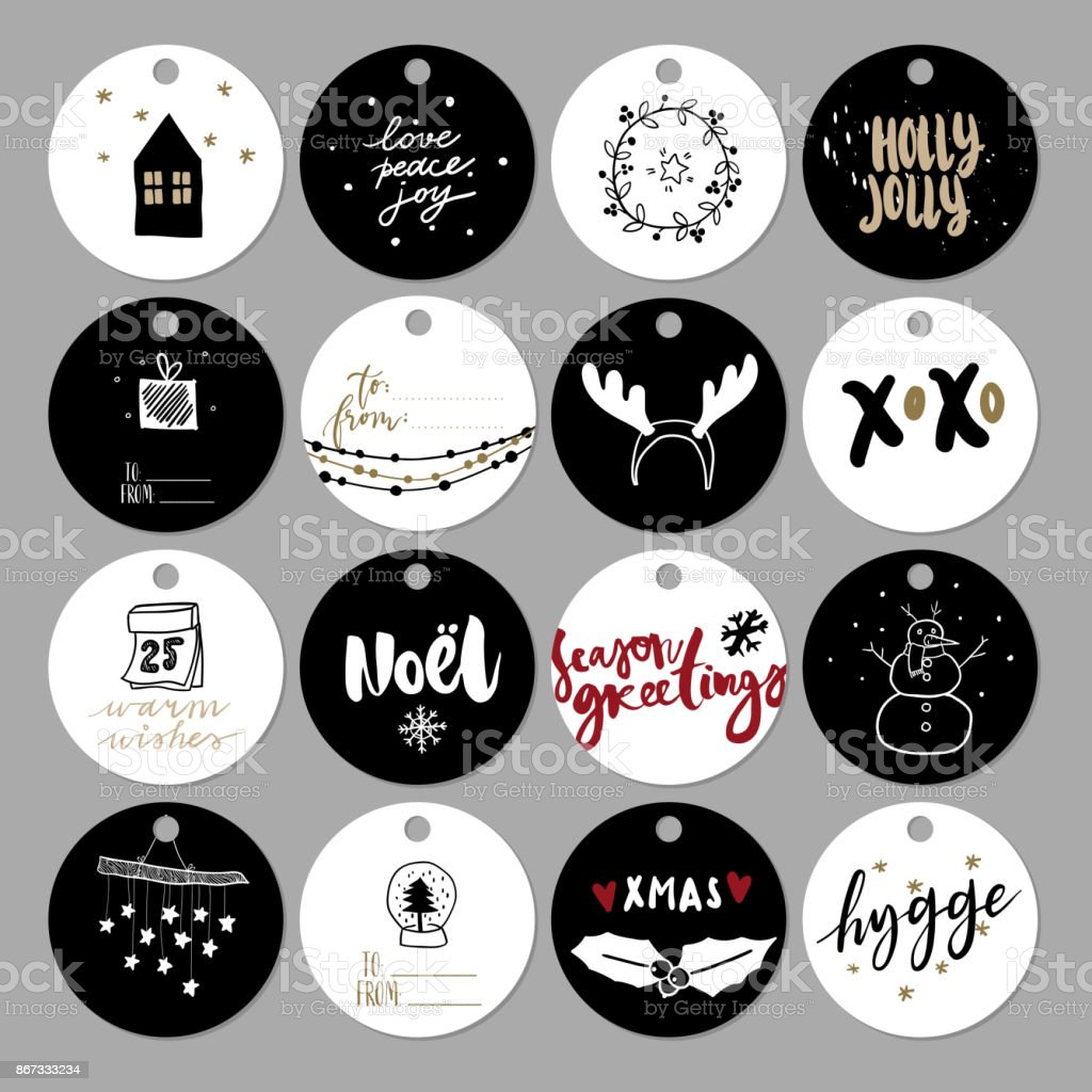 Set Of Doodle Christmas Gift Tag Vector Hand Drawn Cute Icons