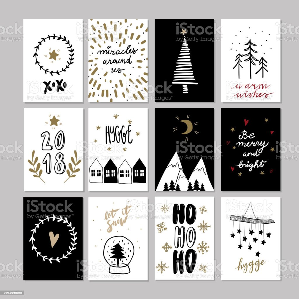 Set of doodle christmas greeting cards vector hand drawn cute icon set of doodle christmas greeting cards vector hand drawn cute icon scandinavian style m4hsunfo