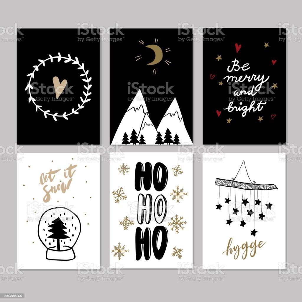 Doodle Weihnachtsfeier.Satz Von Doodle Weihnachtskarten Vektor Handgezeichneten Niedlichen Symbole Skandinavischen Stil Weihnachtsbaum Berge Garland Schneekugel Und