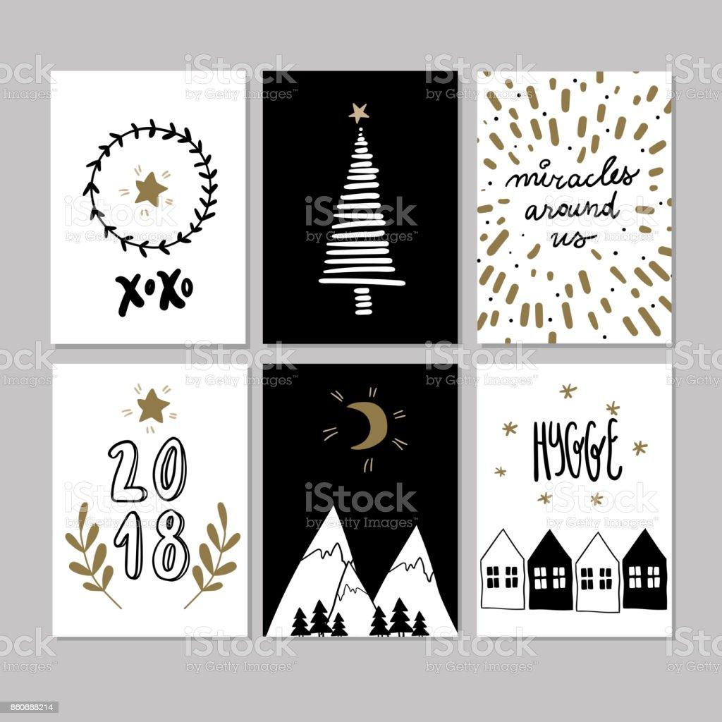 Doodle Weihnachtsfeier.Satz Von Doodle Weihnachtskarten Vektor Handgezeichneten Niedlichen