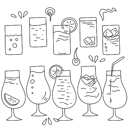 Set of doodle cocktails in different glasses illuminating contour drinks