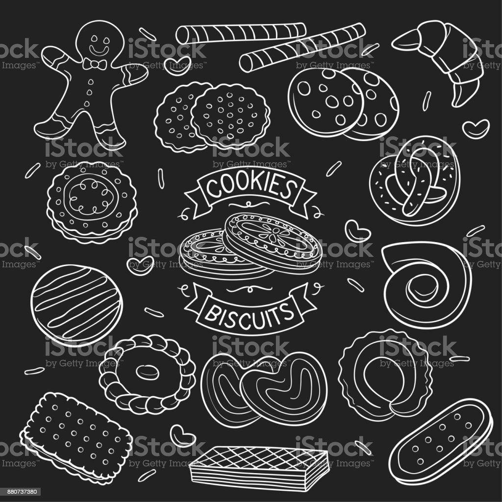 set of doodle  cookies and biscuit in chalkboard vector art illustration