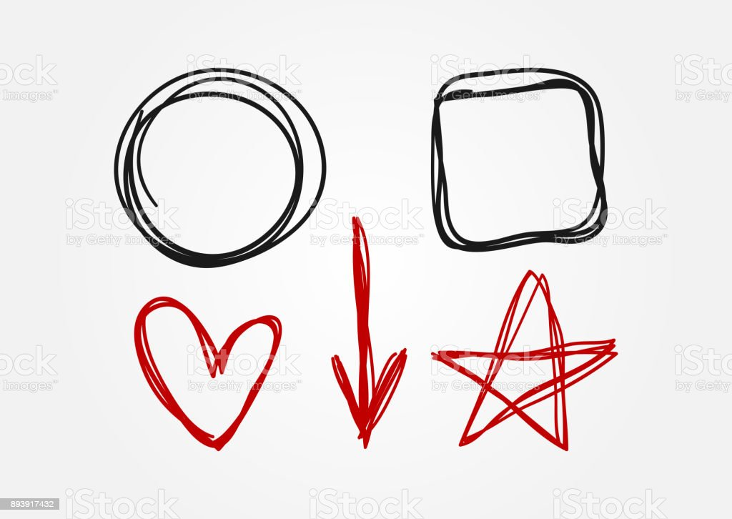 Set of doodle elements drawn by hand. Circle, square, heart, arrow, star. vector art illustration