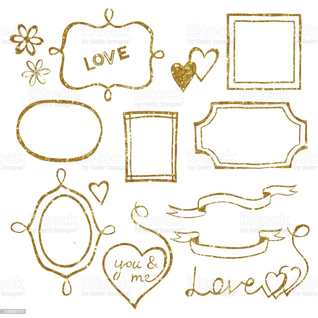 Set Of Doodle Frames Made Of Gold Glitter Texture Stock Vector Art ...