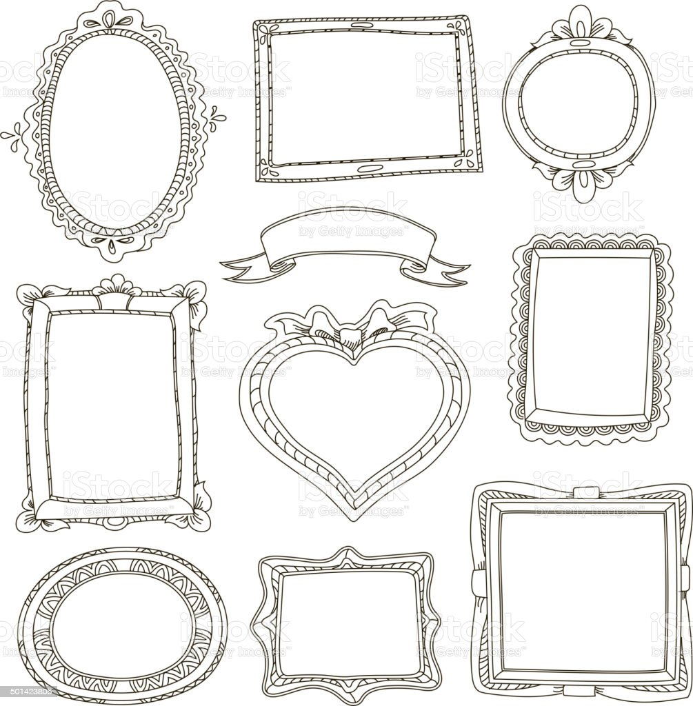 Set of doodle frames on white background vector art illustration