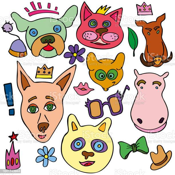 Set of doodle funny and cute animals vector id1041743944?b=1&k=6&m=1041743944&s=612x612&h=4s8typpo3lslrsmno2fydfn4lussewajy7qv0hv5vku=