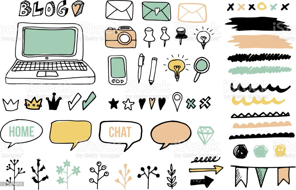 Set of doodle graphic elements for blog, graphic projects, vectors vector art illustration