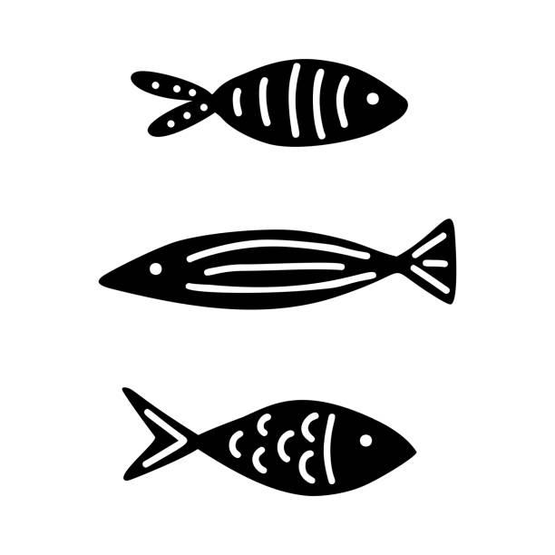 ilustrações de stock, clip art, desenhos animados e ícones de set of doodle hand drawn fish. black and white vector illustration - peixe