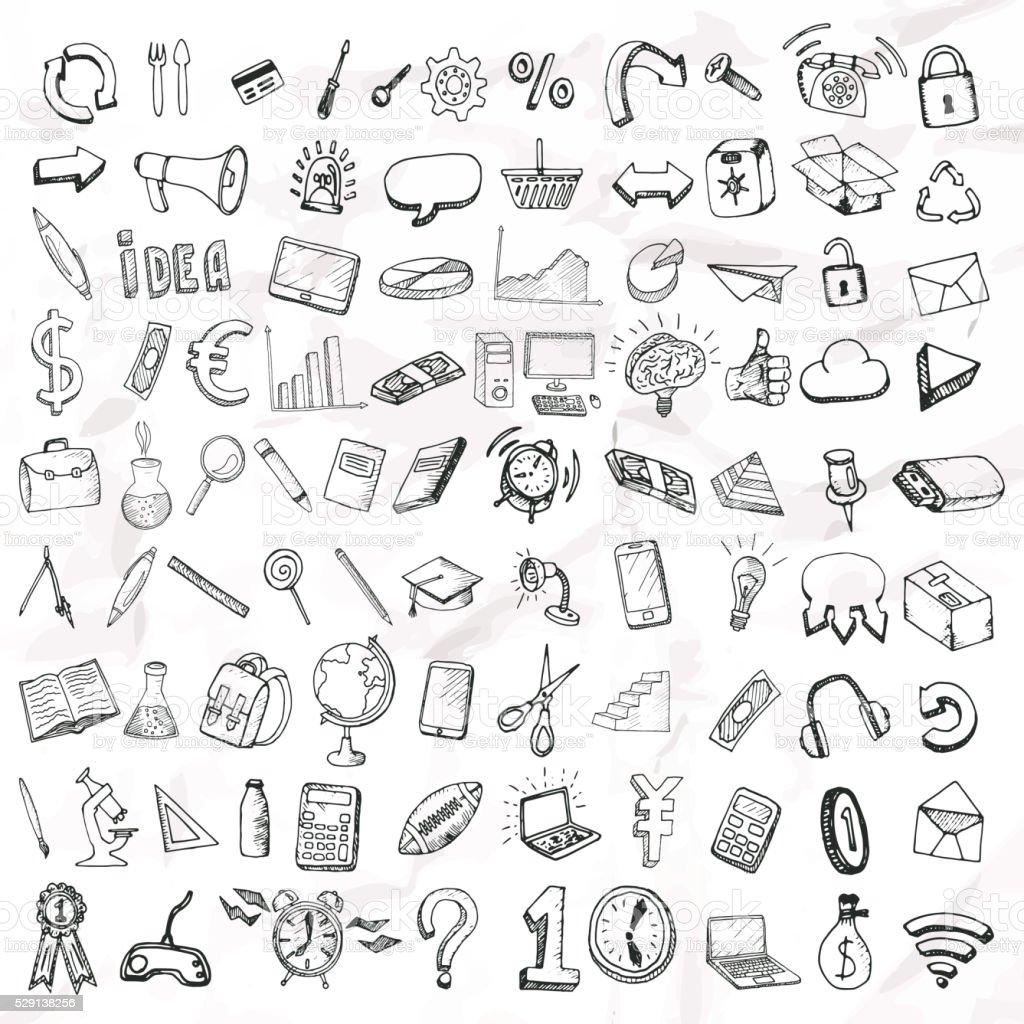 Satz Von Doodle Symbole Stock Vektor Art und mehr Bilder von ...