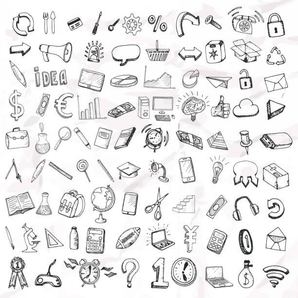 Conjunto de doodle ícones. - ilustração de arte em vetor