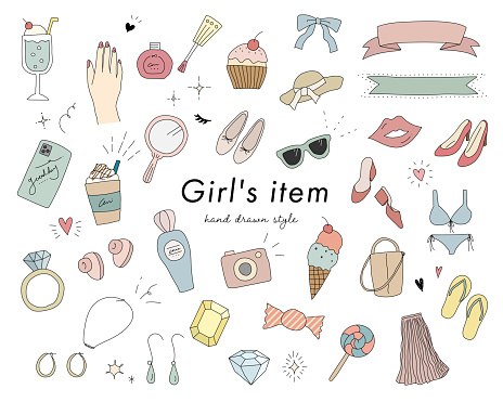 Set of doodle illustrations of cute items for girls and women