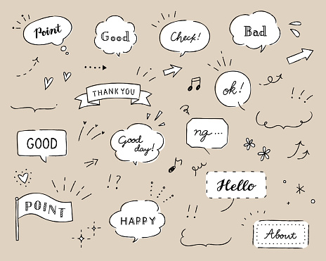 Set of doodle illustrations such as balloons, frames, decorations, hearts, stars, arrows, etc.