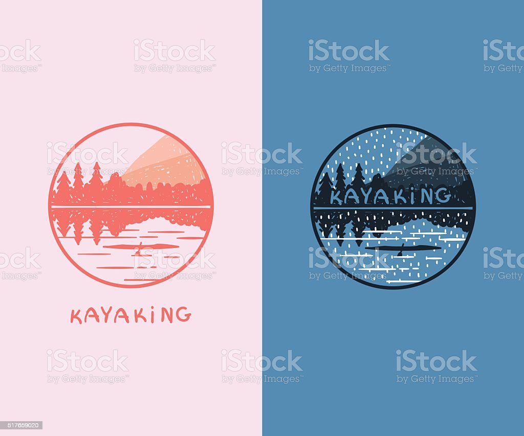Set of doodle kayaking badges. vector art illustration