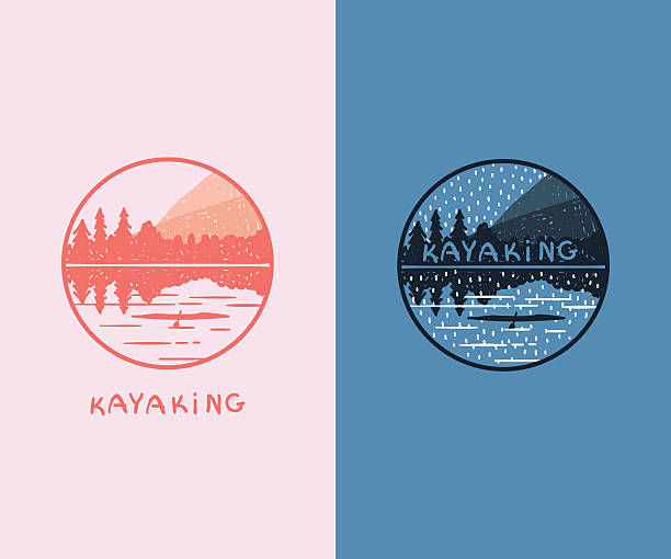 set of doodle kayaking badges. - kayaking stock illustrations, clip art, cartoons, & icons