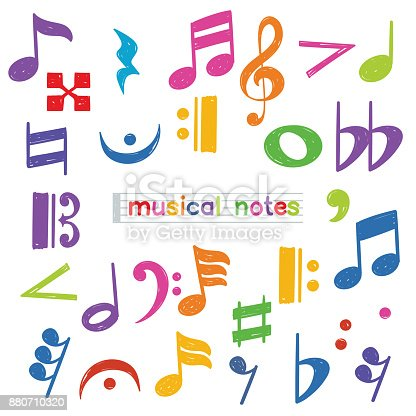 Set of colorful doodle musical note symbol isolated over white background