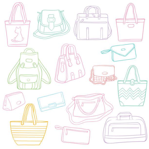 satz von doodle umriss taschen kollektion - laptoptaschen stock-grafiken, -clipart, -cartoons und -symbole