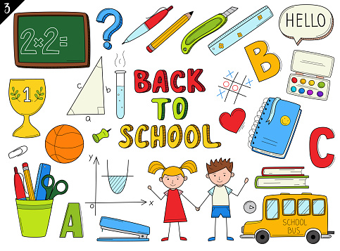 Set of doodle outline icons back to school. School items, supplies, stationery, Hand-drawn black and white vector illustration. Design elements are isolated on a white background