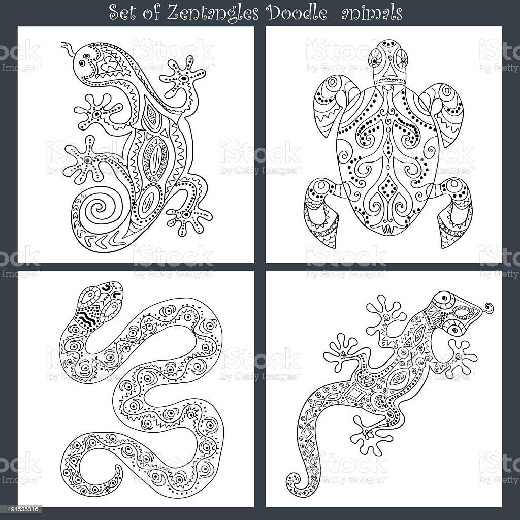 satz von doodle zentangle muster lizenzfreies satz von doodle zentangle muster stock vektor art und mehr - Zentangle Muster