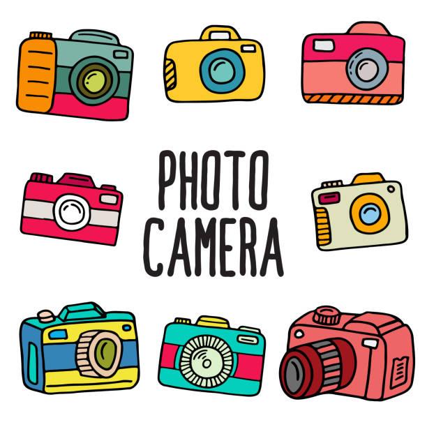 ilustraciones, imágenes clip art, dibujos animados e iconos de stock de conjunto de cámara de fotos de doodle - zoom call