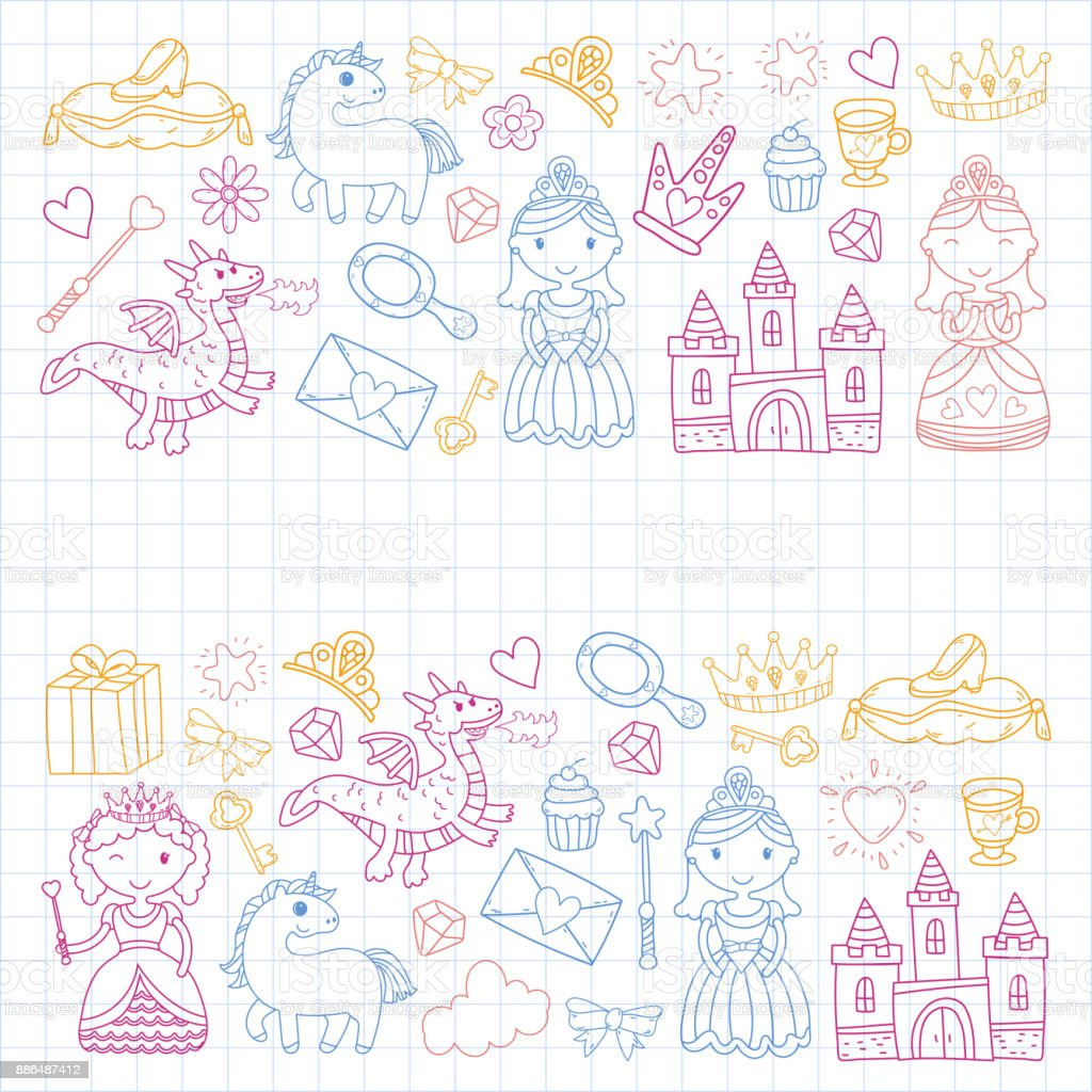 Set Of Doodle Princess And Fantasy Icon And And Design Element For