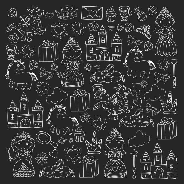 Set of doodle princess and fantasy icon and and design element for invitation and greeting card. Kids drawing. Kindergarten, preschool, school pattern vector art illustration
