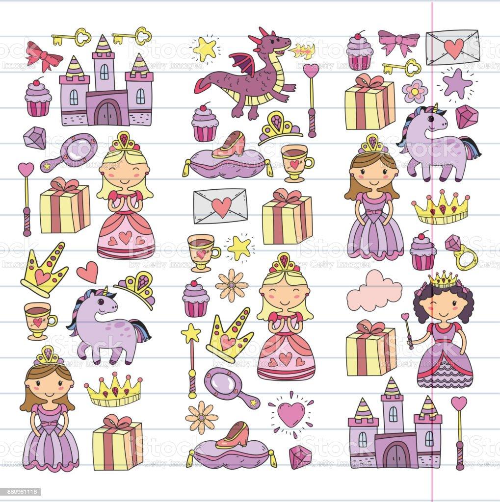 Ilustración De Conjunto De Icono De Princesa Y Fantasía De