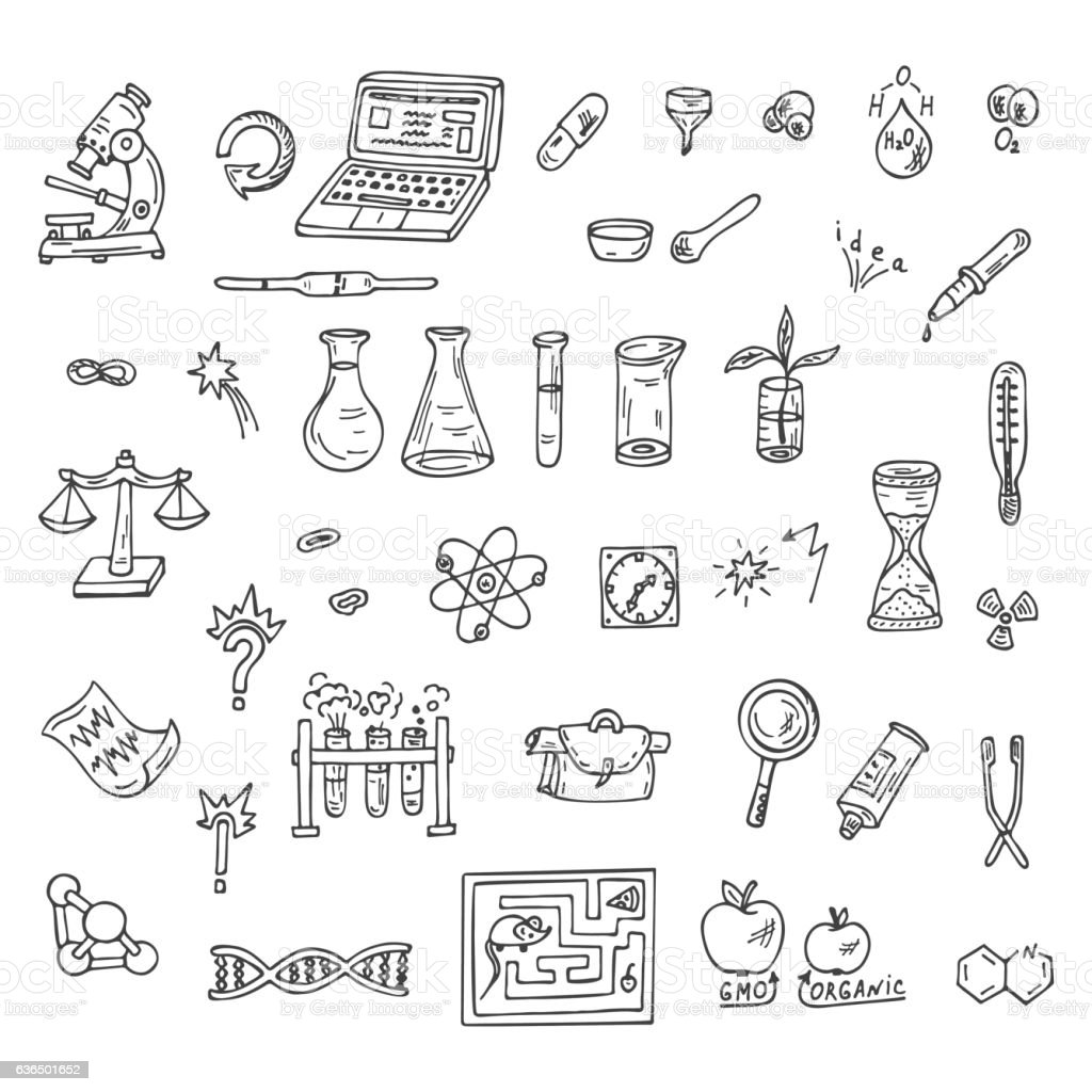 Set of Doodle Science icons vector art illustration