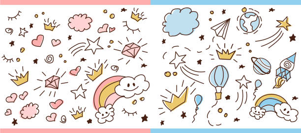set of doodle seamless pattern. vector background for little prince and princess. - unicorn line drawings stock illustrations, clip art, cartoons, & icons