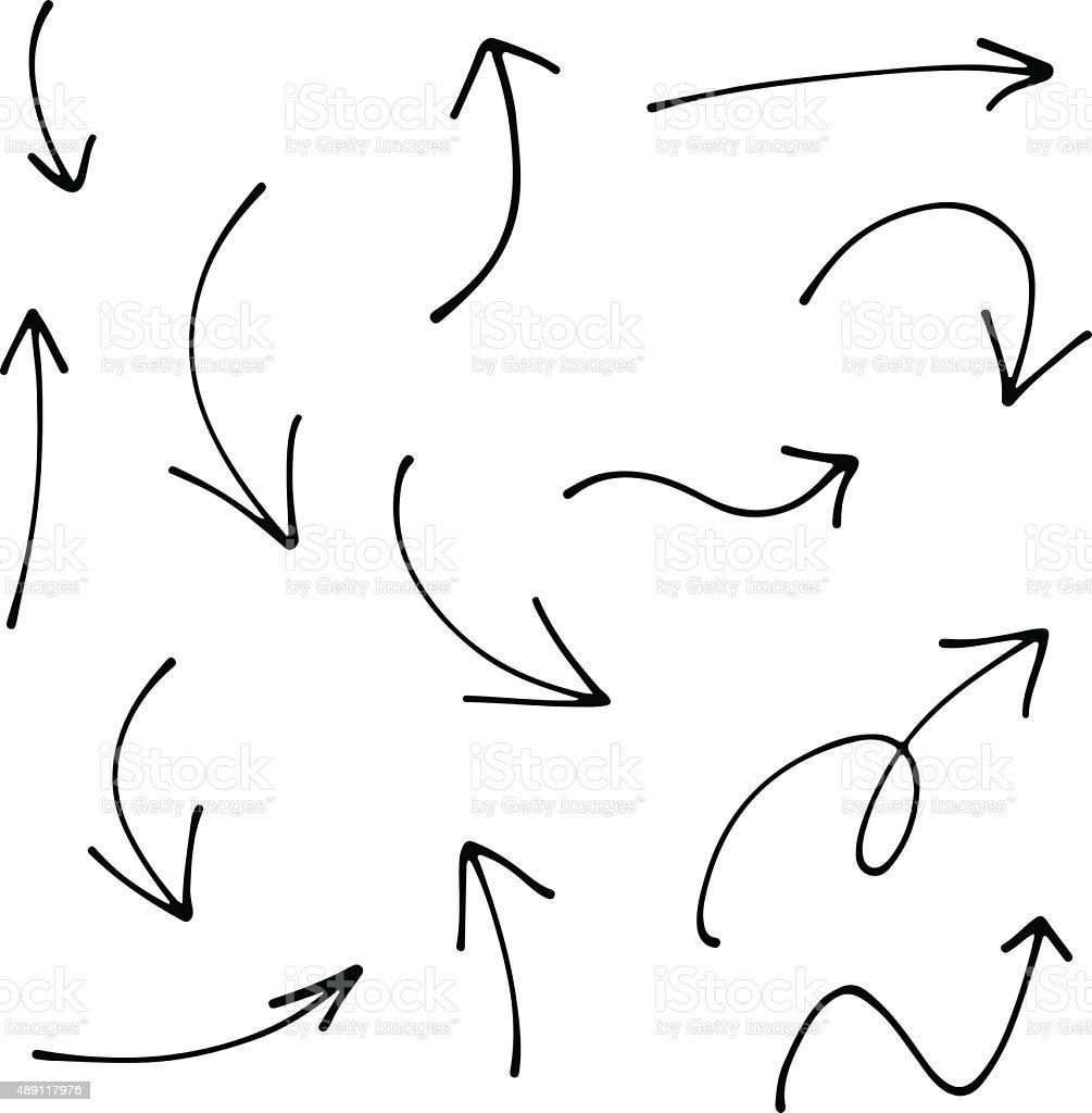 Set of Doodle Sketch arrows, pointers. royalty-free stock vector art