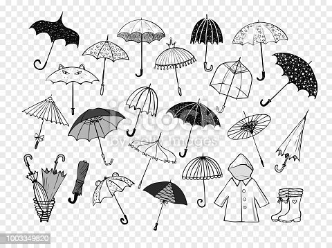 Set of doodle sketch umbrellas.