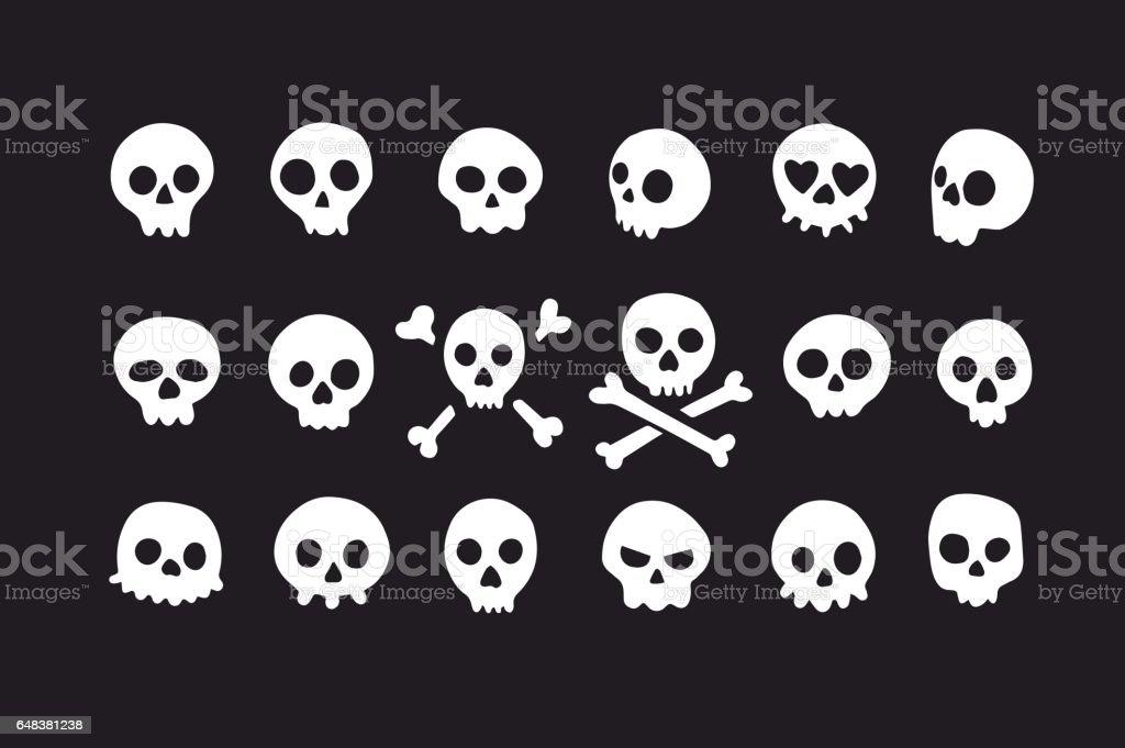 Set of doodle skulls with bones - Royalty-free Art stock vector