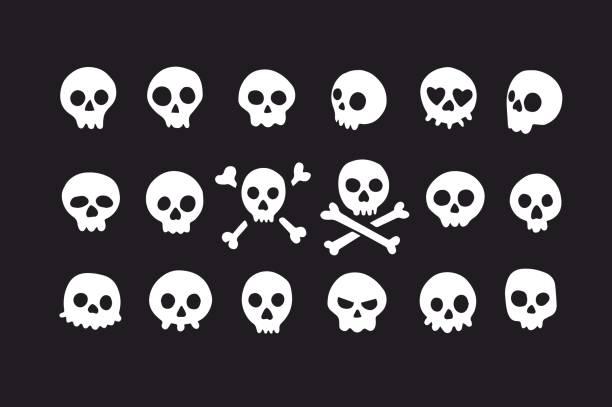 Set of doodle skulls with bones vector art illustration