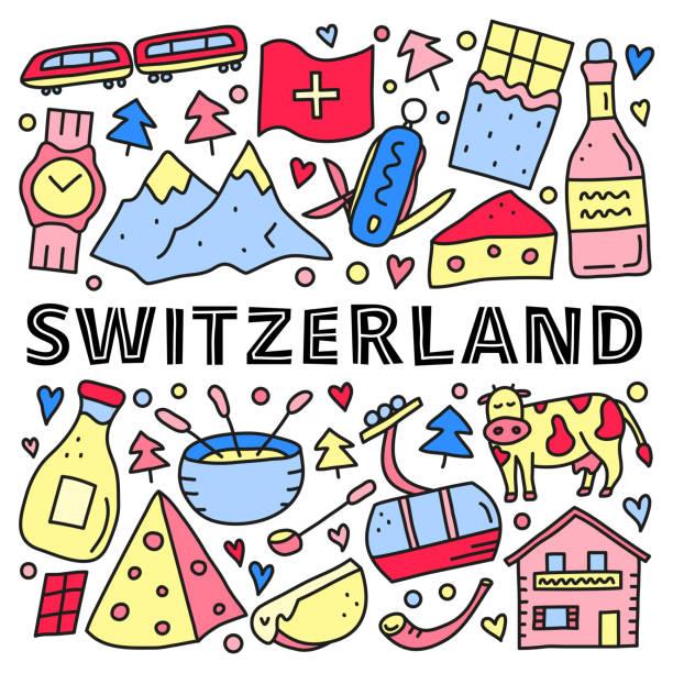 satz von doodle schweiz symbole. - raclette stock-grafiken, -clipart, -cartoons und -symbole