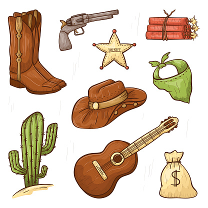 Set of doodle vector isolated icons in country style. Line art cowboy design elements. Outline wild west print or decoration stickers.