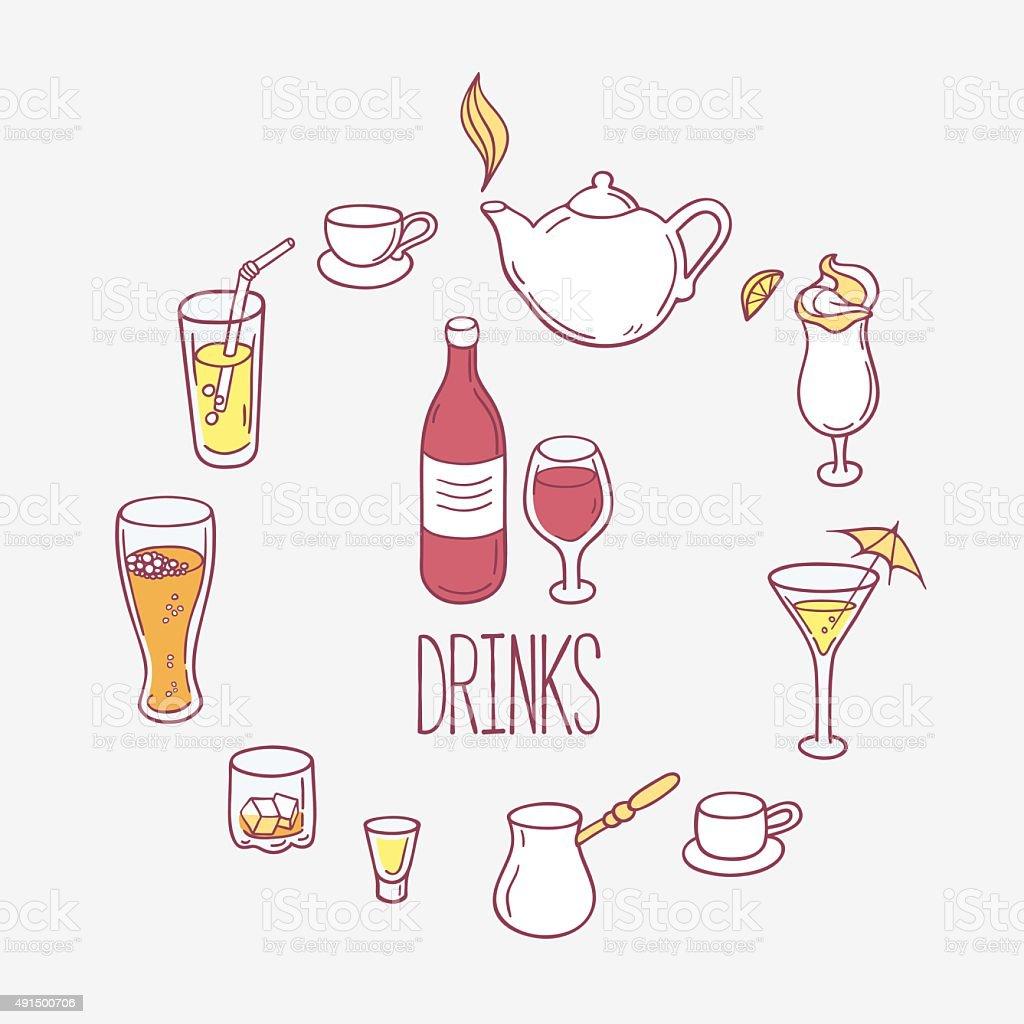 Set of doodles drinks in vector. Backgrond with beverages for vector art illustration