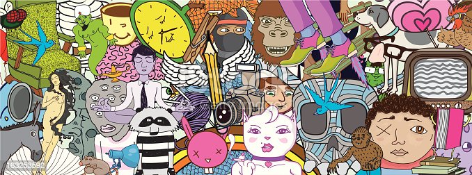 A collection of characters, animals, and objects mashed together to make one giant doodle. The cool thing about this vector file is that all the objects are grouped individually and can be easily isolated and used all on their own with Adobe illustrator or other vector editing programs. A vector.eps file format and a high resolution .jpeg are included. Zoom in for all the details.